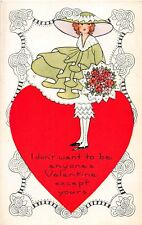 F4/ Valentine's Day Love Holiday Postcard c1910 Heart Large Hat Woman 23