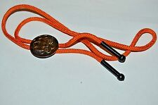 Vintage Brass Tone Western Wagon Metal Bolo Tie w/ Orange Ropes Rare