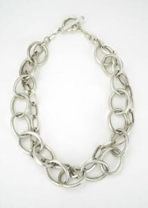 Vintage modernist sterling silver double chain link necklace 1990s