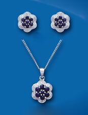 Sapphire and Diamond Pendant and Earrings Set Solid Sterling Silver