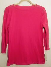 Croft and Barrow Women's Burma Pink Top XS 3/4 Sleeve with buttons