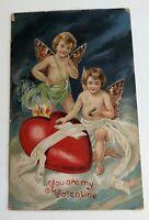 Vintage Valentine Postcard w Cupid Angels