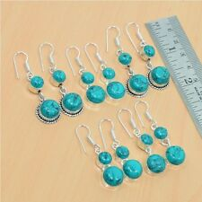 925 SILVER PLATED WHOLESALE 5PAIR LOT TURQUOISE CLASSIC HOOK EARRING JEWELRY