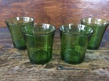 Set Of Four Duralex Green Juice Glasses France 4 Glass Mid Century Modern MCM