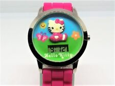 Hello Kitty LCD Kids Stainless Steel Sanrio Watch with Pink Band New Battery