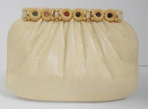Judith Leiber Creamy Beige Karung Leather Cabochon Clutch Shoulder Signed Bag