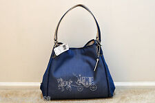 NWT Coach Embossed Horse and Carriage Edie Canvas Shoulder Bag 35344 MSRP $325
