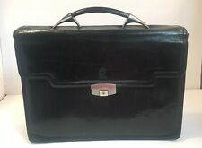 Mid Century Modern Style SAGAN Briefcase Black Leather Distressed