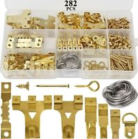 HAUSPROFI 282pcs Picture Hooks for Hard Walls, Picture Hanging Kit for Pictur...
