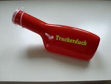 LKW Zubehör Farbige-Urinflasche Rot mit Neongelber Truckerduck Beschriftung