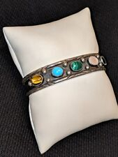 Bangle Cuff Bracelet R.C. Rose Castillo Sterling Silver 5 Stone Custom Designed