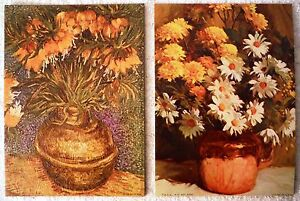 Lot of 2 Still Life Flowers - Canvas Style Lithographs Vintage 60's Prints