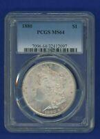1880 P PCGS MS64 Morgan Dollar $1 Silver Better Date 1880-P MS64 Super PQ !