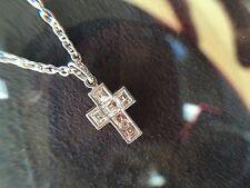 Cartier 6 Diamond Cross Pendant Necklace Platinum PT950 emerald cut