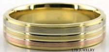 MENS 18K THREE TONE GOLD WEDDING BANDS WHITE & ROSE GOLD WEDDING RINGS SATIN 6MM