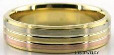MENS 18K THREE TONE GOLD WEDDING BANDS WHITE & ROSE GOLD WEDDING RINGS SATIN 6MM