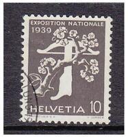 Suiza - 1939 ,10c Nacional Exposición (Francés) (Parrilla Goma) - F / U Sg 395Fb