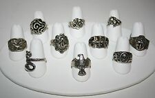 Assorted Chinese Tibetan Silver Ring - Buddha Eagle Dragon Serpent Horse Flower