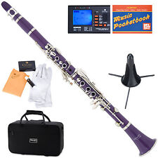 Mendini Bb Clarinet Purple ABS Body +Tuner+Care Kit+Stand+11 Reeds+Case ~MCT-P