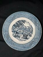 "Vintage Royal China Currier And Ives Bread And Butter Plate 6 1/4"" Harvest Blue"