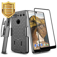For Essential Phone PH-1 Shockproof Belt Clip Holster Case Cover +Tempered Glass