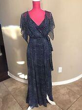 BCBG Maxazria Blue Long Silk Sexy Maxi Dress Size XXS 00 0 Blue