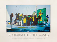 America's Cup 1983 poster, AUSTRALIA RULES THE WAVES, signed - FEBRUARY SALE
