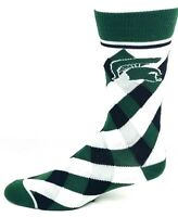 Michigan State Spartans NCAA Checkered Crew Socks Black Green and White