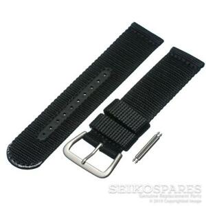 Seiko Watch Strap for 5 Sports SNZG15J 7S36-03J0 22mm Black Nylon Fabric Band