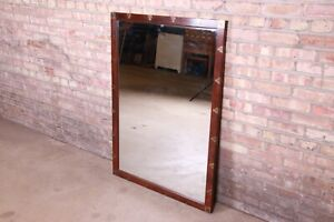 Henredon Hollywood Regency Chinoiserie Walnut and Brass Framed Mirror