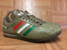 RARE🔥 Adidas TR-2010 Italia Italy Crackled Leather Men's Sz 9 Olive Green Flag