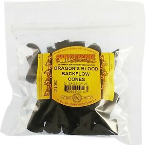Wild Berry Dragon's Blood Backflow Incense Cones [25 Cones Per Pack - Black]