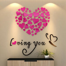 Lovely Mirror Hearts Home 3D Wall Stickers Decor DIY Decal Removable Romantic