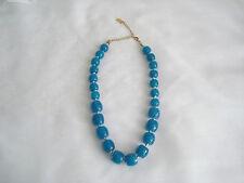 JENNIFER LOPEZ J LO Turquoise Blue Hard Plastic Beads Beaded Fashion Necklace