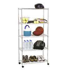 "Seville Classics 5-TIER STEEL WIRE SHELVING WITH WHEELS, 30"" W X 14"" D X 60"" H"