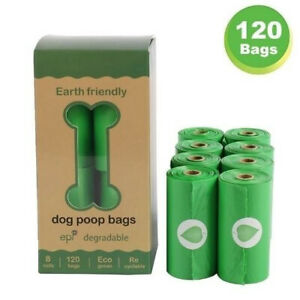 120 Compostable Dog Poo Bags Eco Friendly Bag Biodegradable Pet Waste Degradable