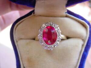 Antique Ruby Diamond Ring Platinum & 14K Gold Edwardian Period