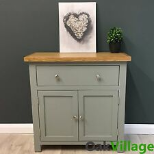 Grey Painted Mini Sideboard Oak / Small Oak Cupboard / Solid Wood / Greymore