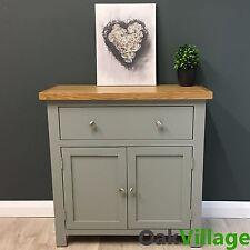 Grey Painted Mini Sideboard Oak / Small Oak Cupboard / Solid Wood / Greymore