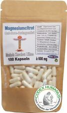 100 Kapseln 600mg Magnesiumcitrat. Muskeln. Knochen. Zähne. Calcium Co-Faktor.