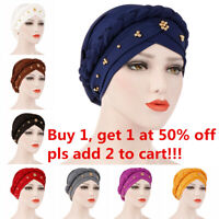 Wrap Hair Loss Head Scarf Muslim Women Turban Cap Cancer Chemo Hat Beads Braid~~