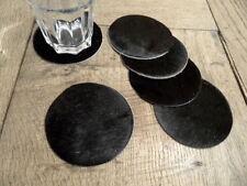 6 Untersetzer aus Kuhfell schwarz 10cm rund