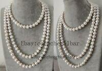 edelste kultivierte große 10-11mm weiße Süßwasserperlen lange Halskette 62 Zoll