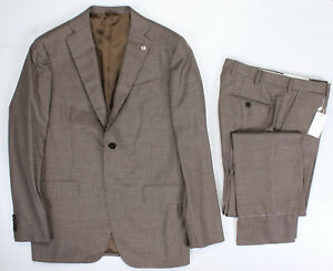 NWT 2800$ LUXURY EIDOS by ISAIA SUIT BALTHAZAR BROWN WOOL DEFECT HANDMADE it 48