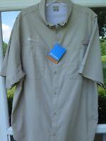 Columbia PFG Tamiami Men's Beige Omni-Shade Vented Fishing Shirt Large NWT NEW