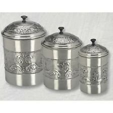 Kitchen Canister Set Set Steel 3 Storage Antique Vintage Flour Sugar Cookies NEW