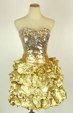 NEW Mac Duggal Gold Strapless Prom Short Evening $400 Size 8 Bubble Gown Formal