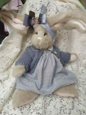 "Bearington Bears Rabbit Isabella Bunny Blue Dress Sweater 14"" Cute"