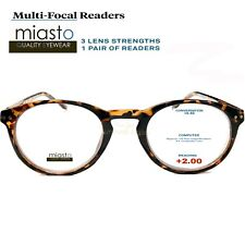 MIASTO MULTI-FOCAL (NO LINE BIFOCAL) COMPUTER READER READING GLASSES +2.00 BROWN