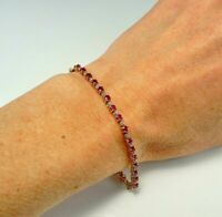 7 Ct Round Cut Red Ruby & Diamond Tennis Bracelet In Solid 14K Yellow Gold Over